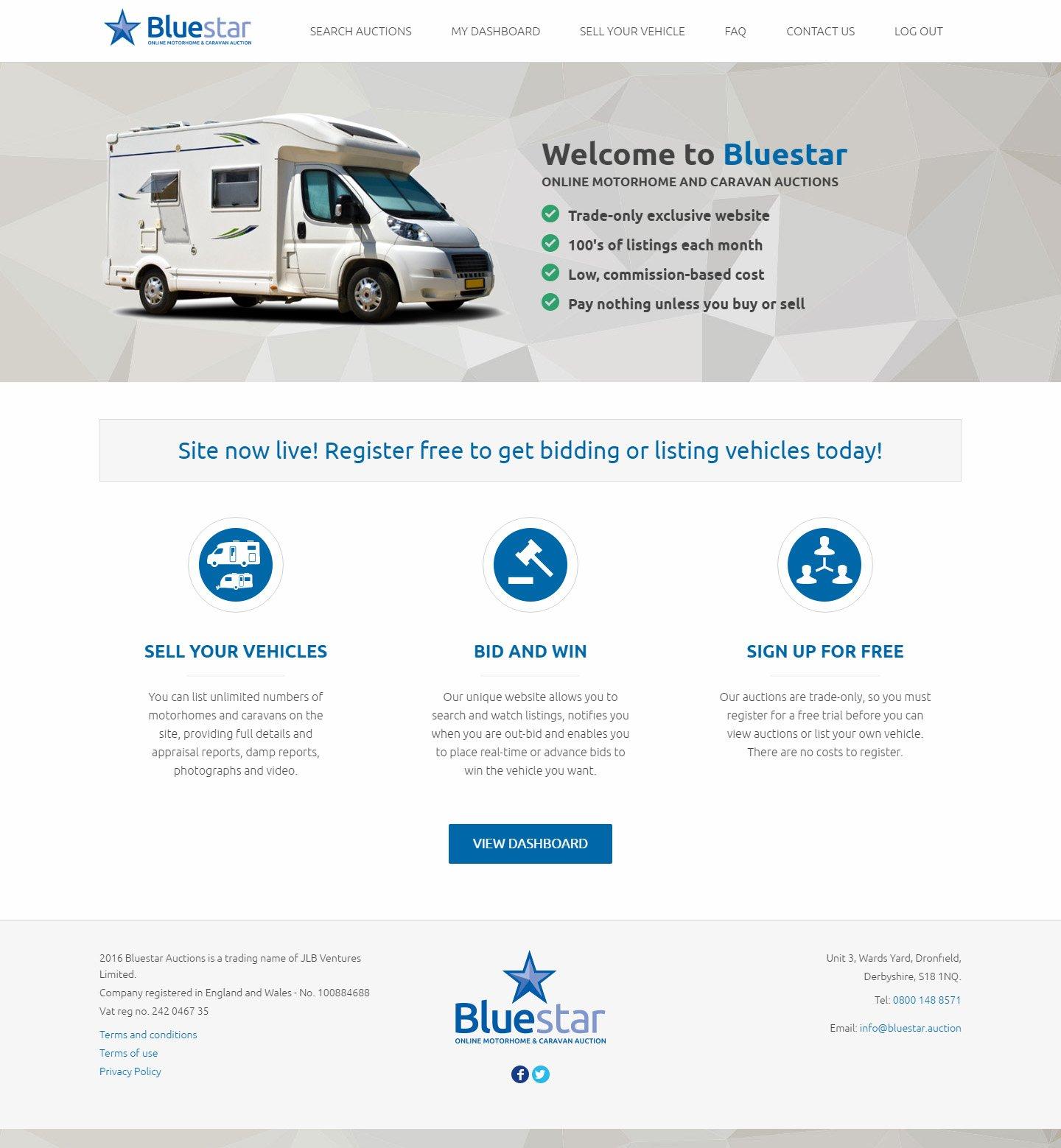 Bluestar Auctions Homepage