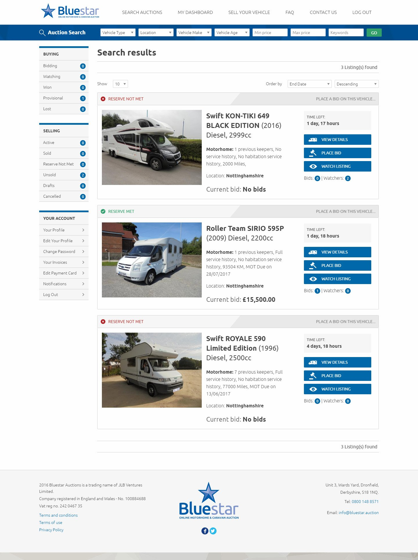 Bluestar Auctions Search Results