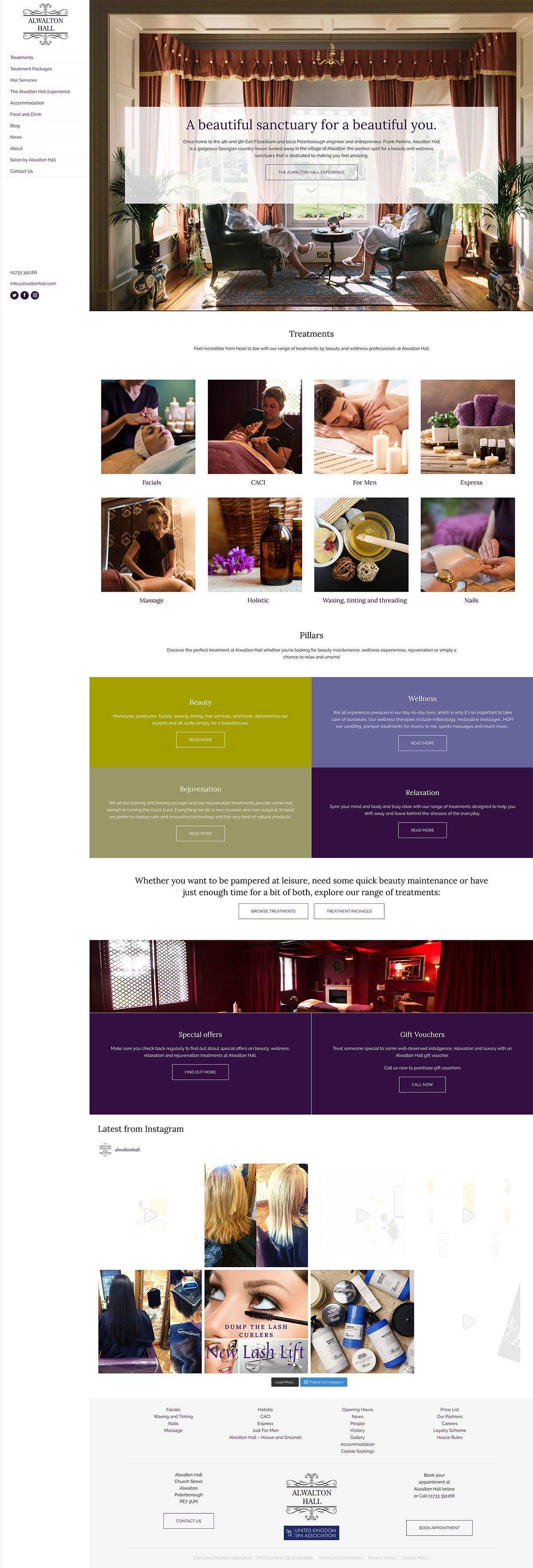 Alwalton Hall Homepage Screenshot