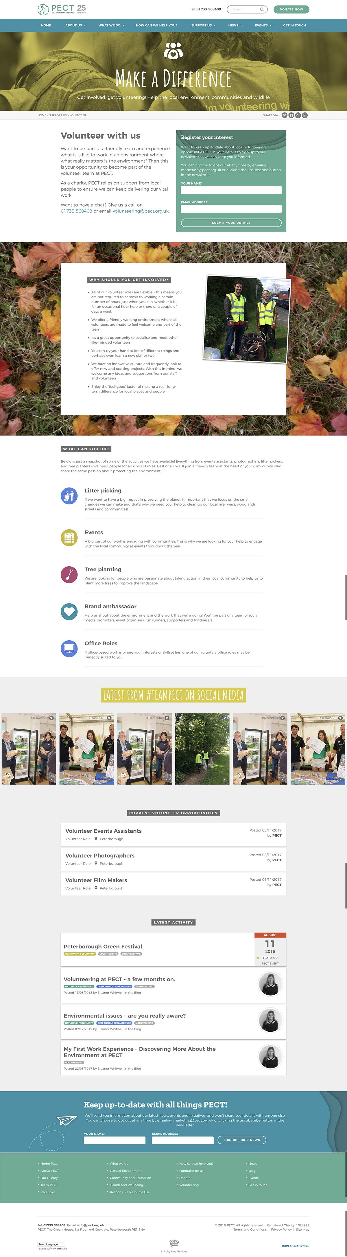 PECT Volunteer Page Screenshot