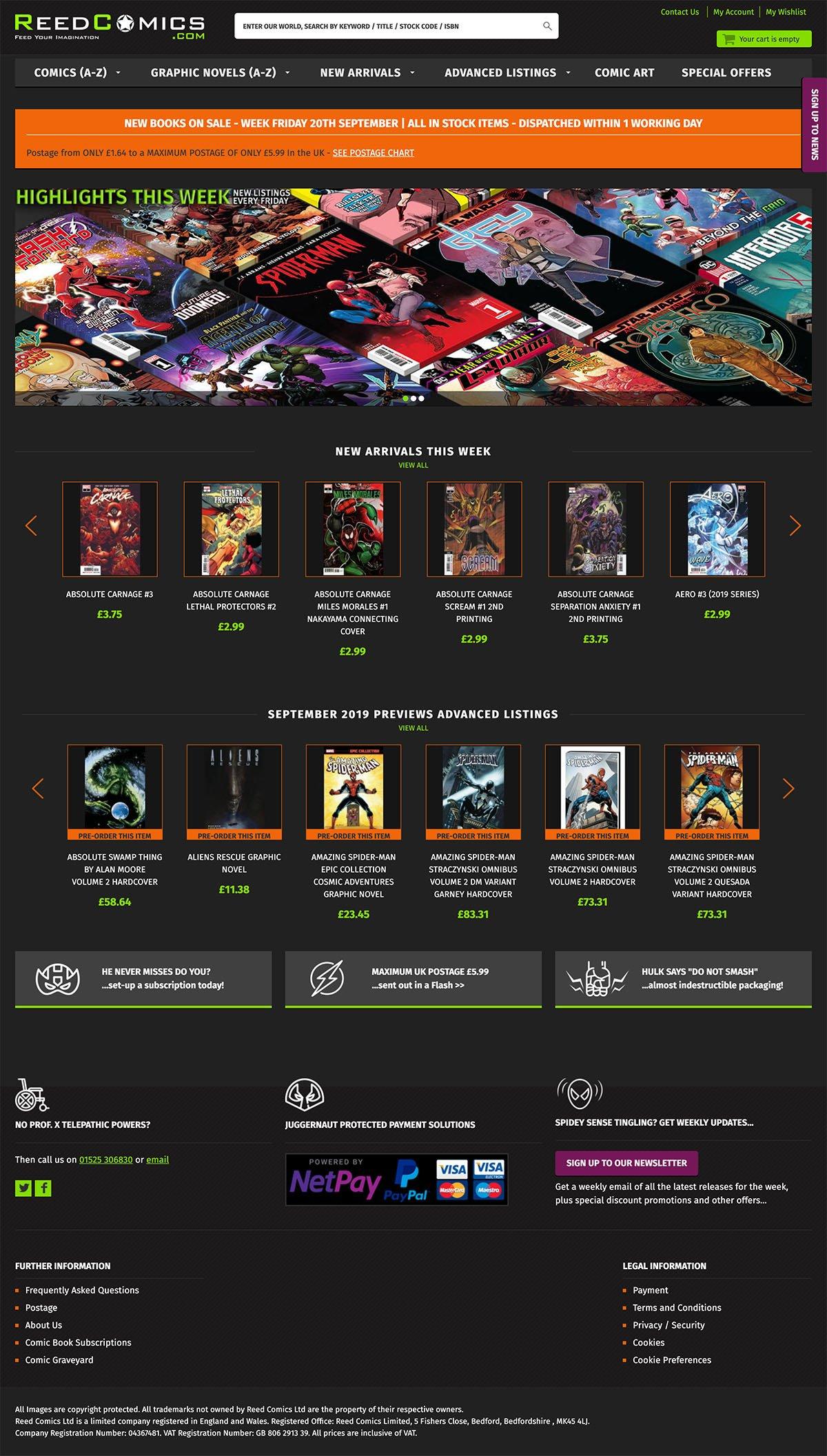 Reed Comics Homepage Screenshot