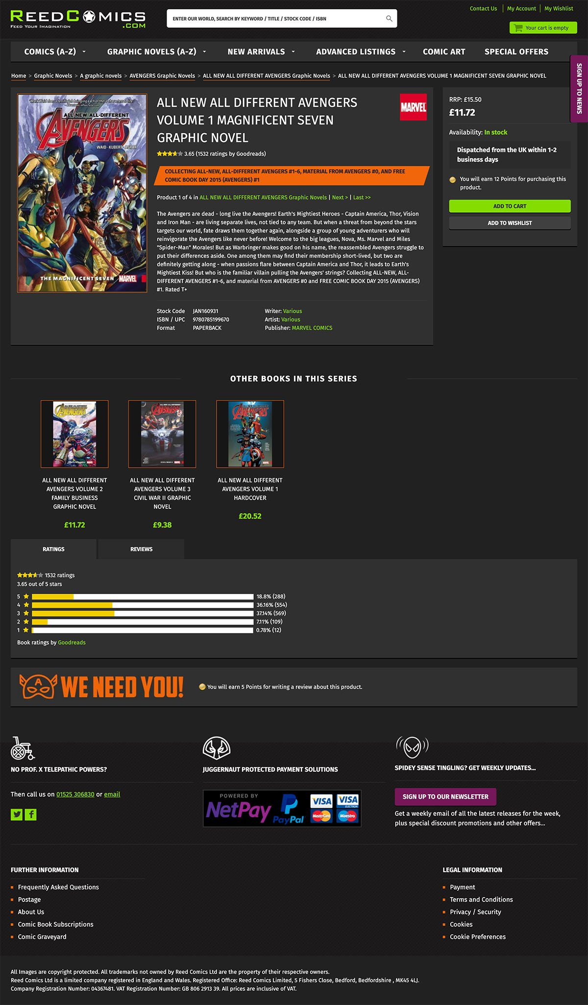 Reed Comics Product Page Screenshot