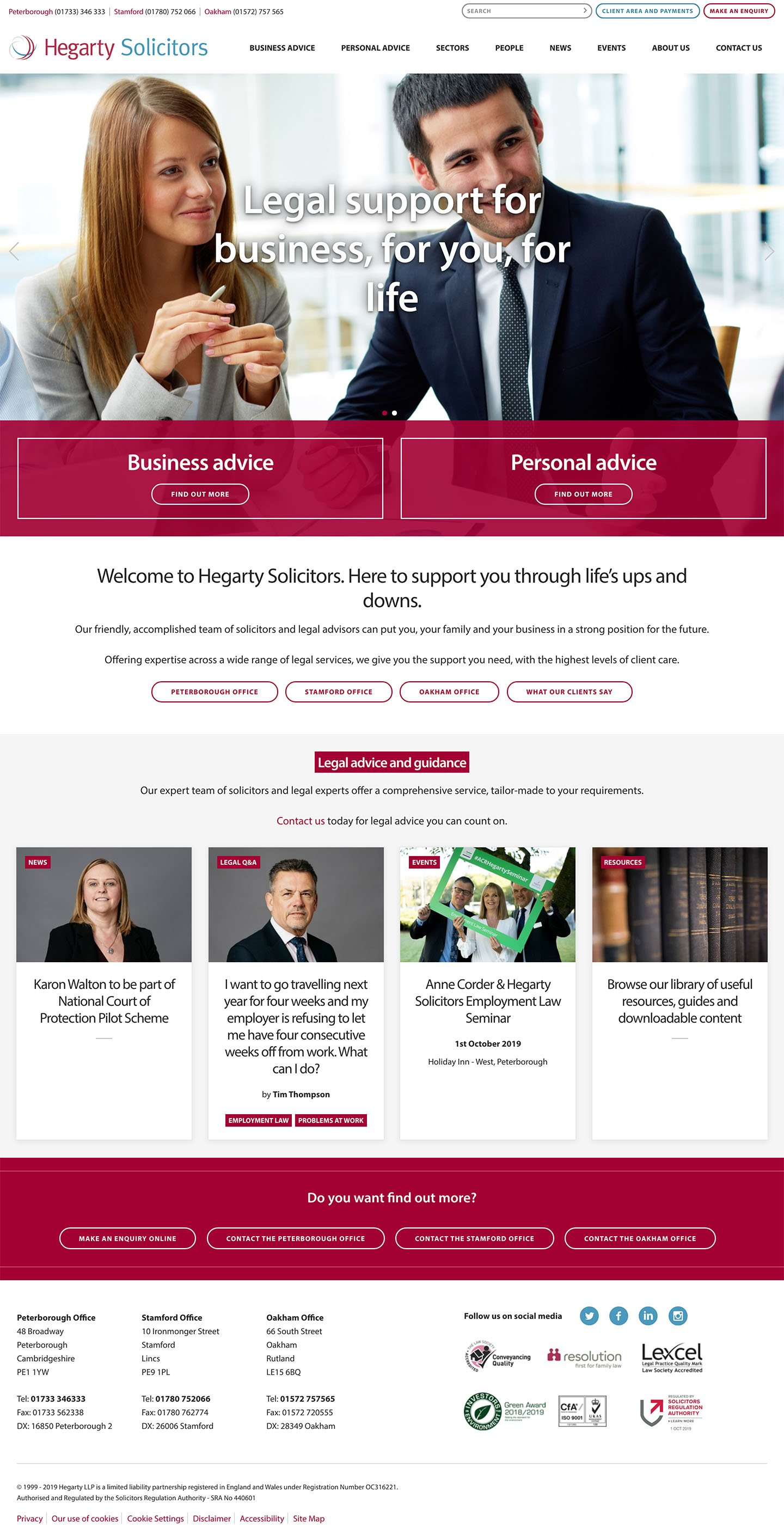 Hegarty Homepage Laptop Screenshot